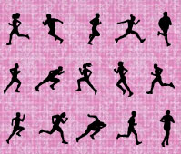 Silhouette of People Running les