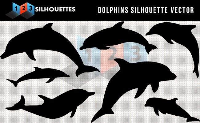 Silhouette Dolphins Vector Graphics