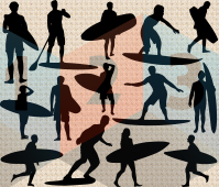Surfboarding silhouette vector les